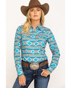 West Made Women's Blue Aztec Long Sleeve Western Shirt , Blue, hi-res