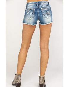 Miss Me Women's Mid Rise Sequin Pocket Cutoff Shorts , Blue, hi-res