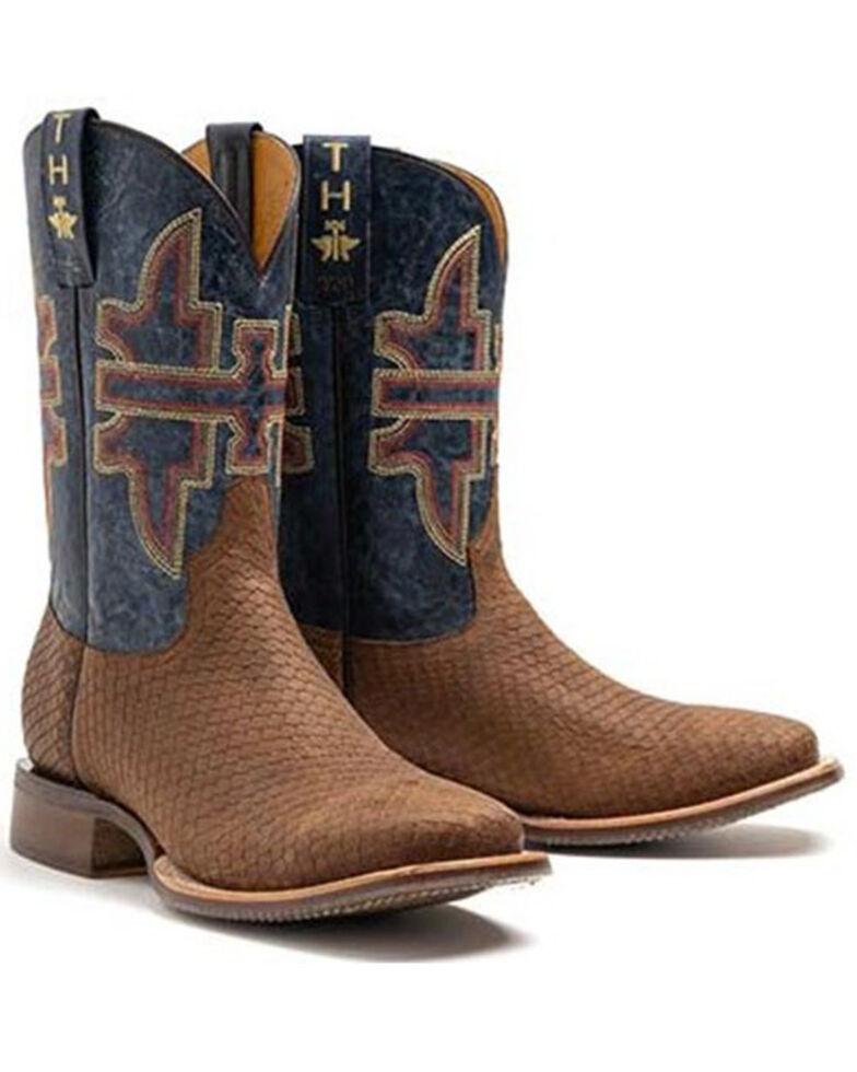 Tin Haul Men's Faux Viper Print Western Boots - Wide Square Toe, Brown, hi-res