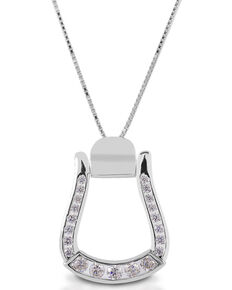 Kelly Herd Women's Clear Stone Oxbow Stirrup Necklace , Silver, hi-res