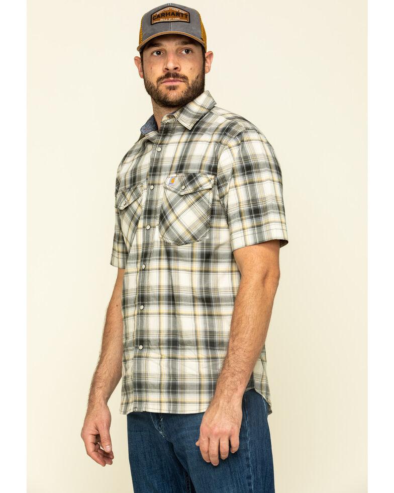 Carhartt Men's Olive Rugged Flex Bozeman Plaid Short Sleeve Work Shirt , Olive, hi-res