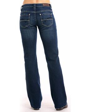 Rock & Roll Cowgirl Women's Criss Cross Stitch Boot Cut Jeans , Indigo, hi-res
