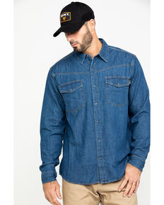 Hawx® Men's Stonewashed Denim Snap Long Sleeve Work Shirt , Blue, hi-res