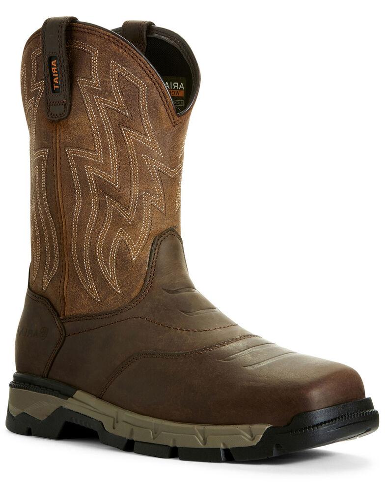 Ariat Men's Rebar Flex Western Work Boots - Wide Square Toe, Brown, hi-res