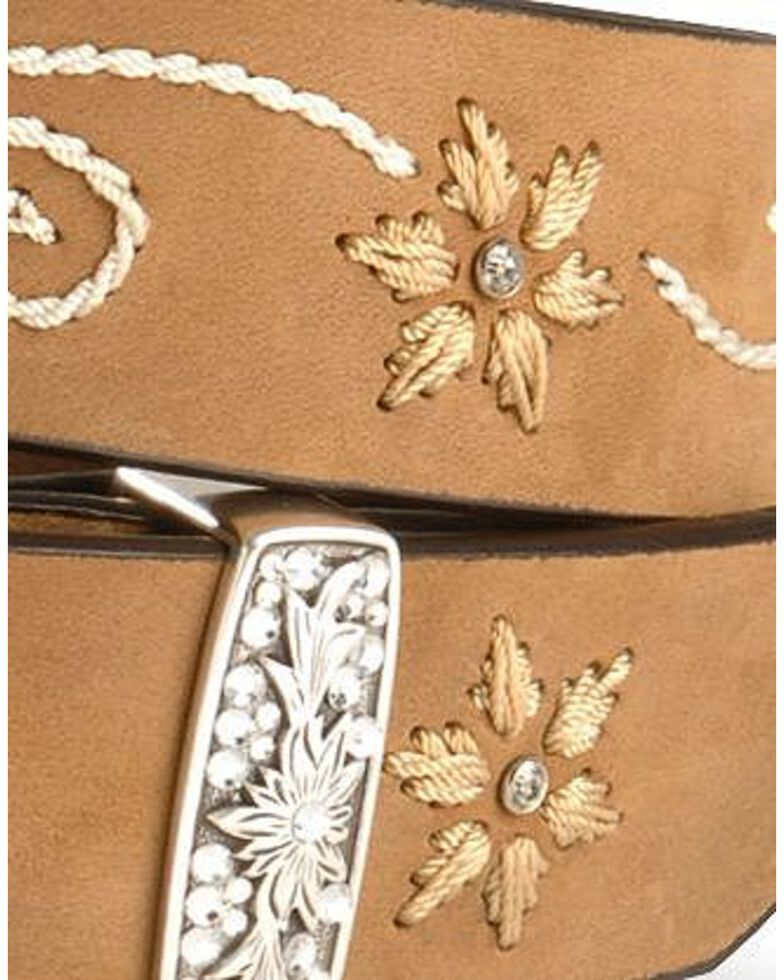 Nocona Women's Embroidered Floral Belt, Brown, hi-res