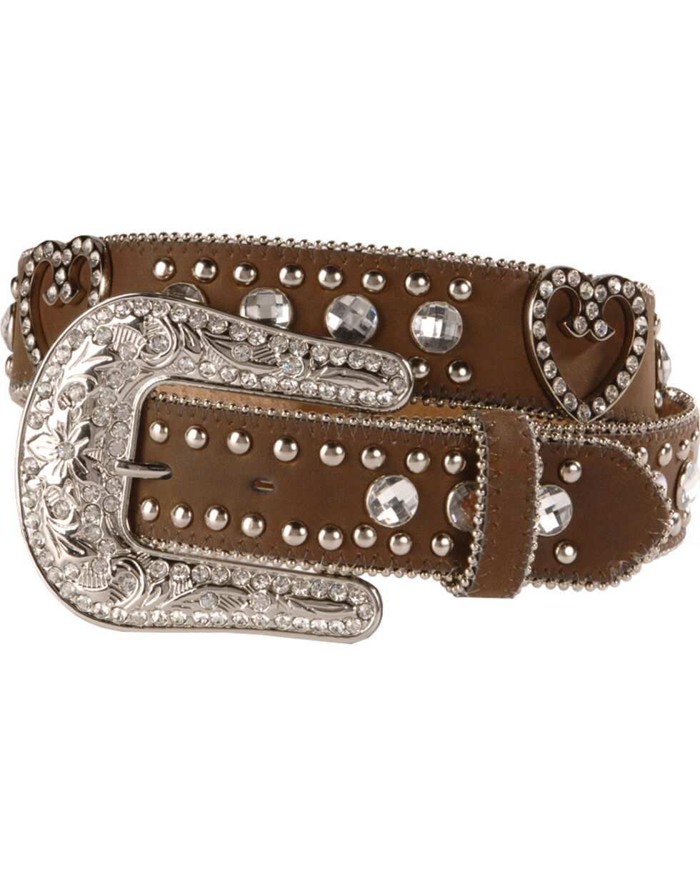 Nocona Women's Heart and Rhinestone Western Belt, Brown, hi-res