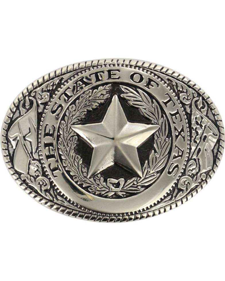 M&F Western Men's Silver State of Texas Seal Buckle , Multi, hi-res