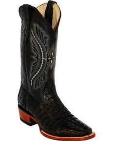 Ferrini Men's Caiman Crocodile Tail Exotic Western Boots, Black, hi-res