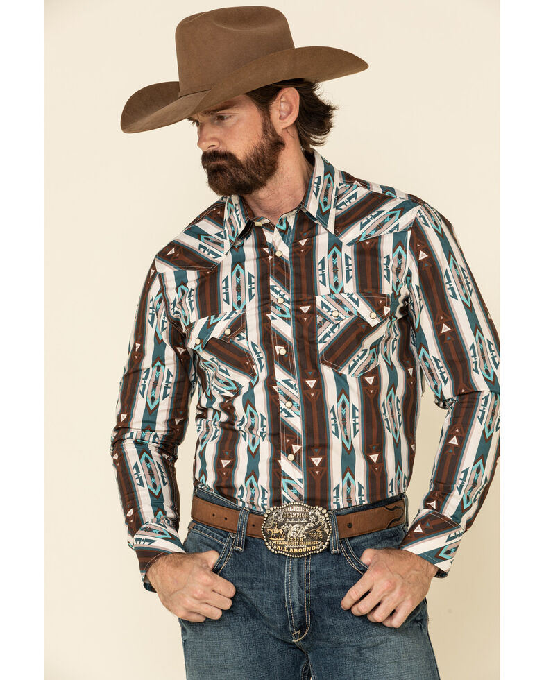 Rock & Roll Denim Men's Multi Aztec Striped Long Sleeve Western Shirt , Multi, hi-res