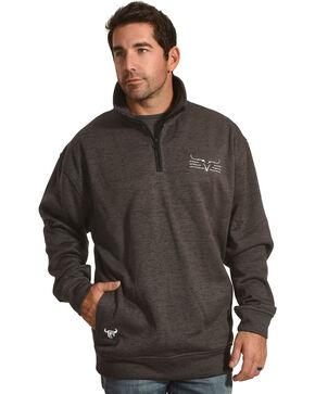 Cowboy Hardware Men's Steer Barb Cadet 1/4 Zip Pullover, Charcoal, hi-res