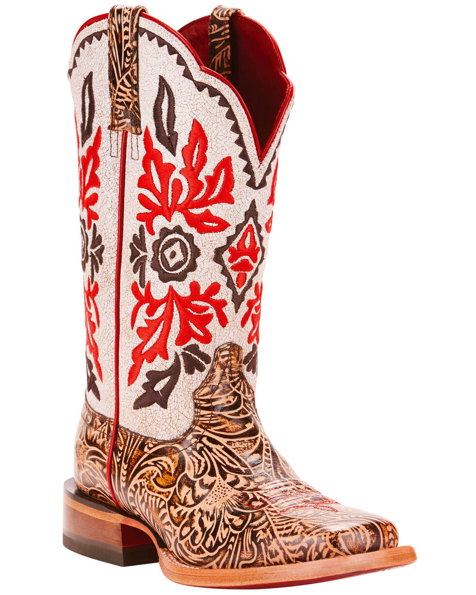 Ariat Women's Western Magnolia White Crackle Embroidered Performance Cowgirl Boots - Square Toe, Brown, hi-res