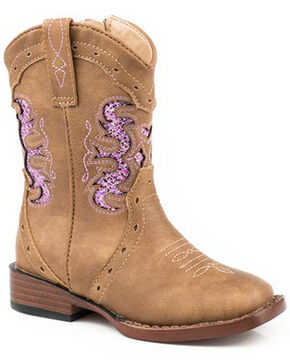 Roper Girls' Claire Western Boots - Square Toe, Brown, hi-res