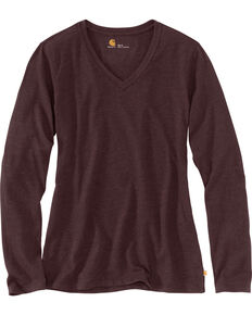Carhartt Women's Brown Lockhart Long Sleeve V-Neck Shirt , Brown, hi-res