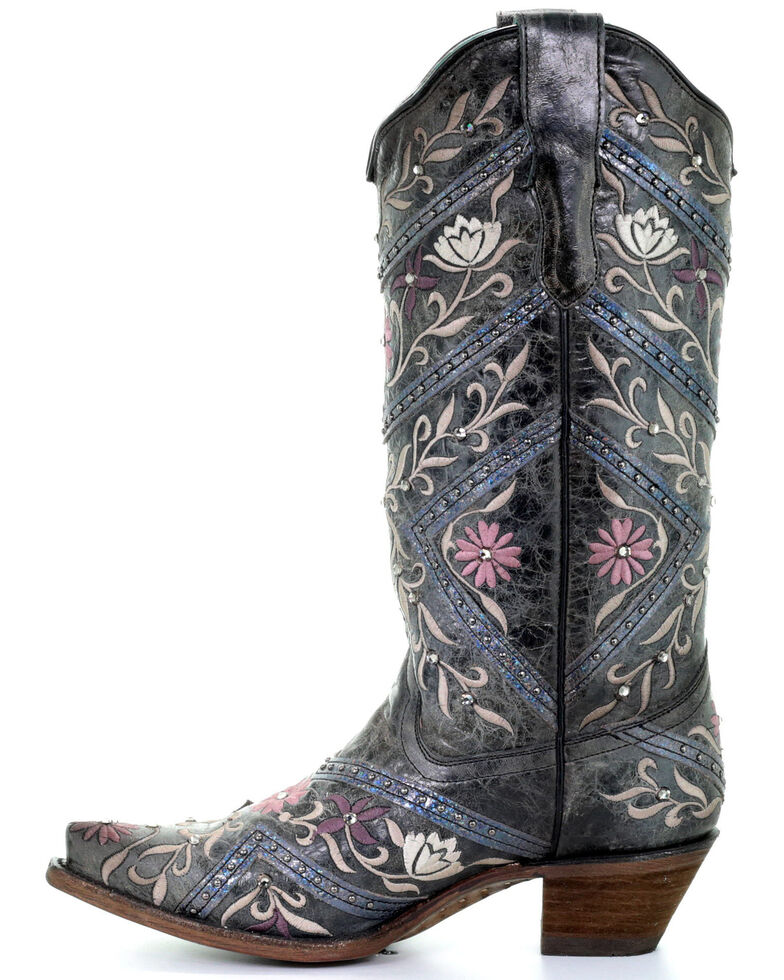 Corral Women's Floral Embroidery & Rhinestones Western Boots - Snip Toe, Black, hi-res