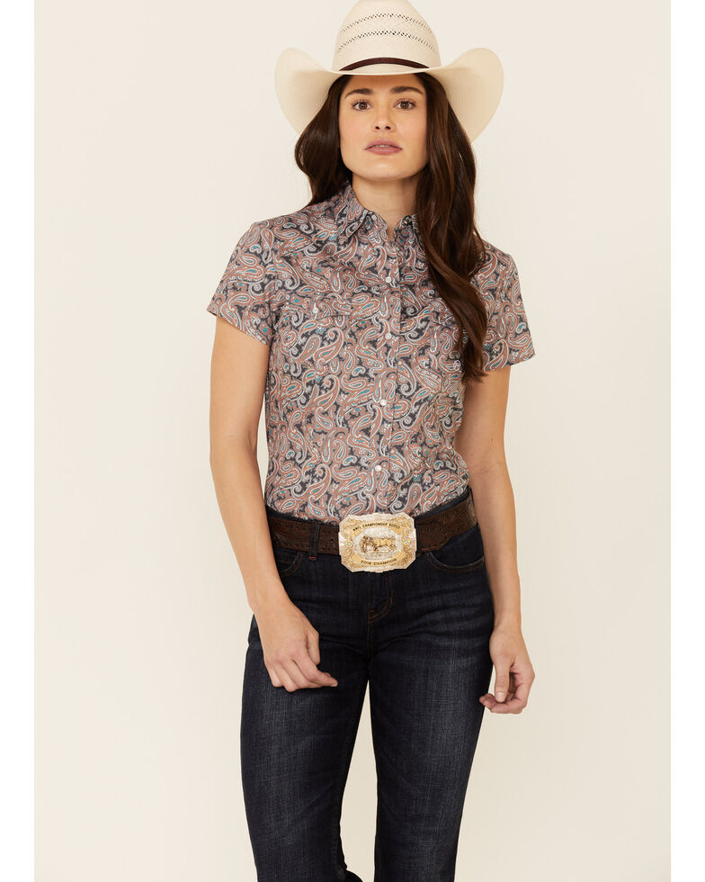 Amarillo Women's Canyon Paisley Print Short Sleeve Snap Western Shirt , Grey, hi-res