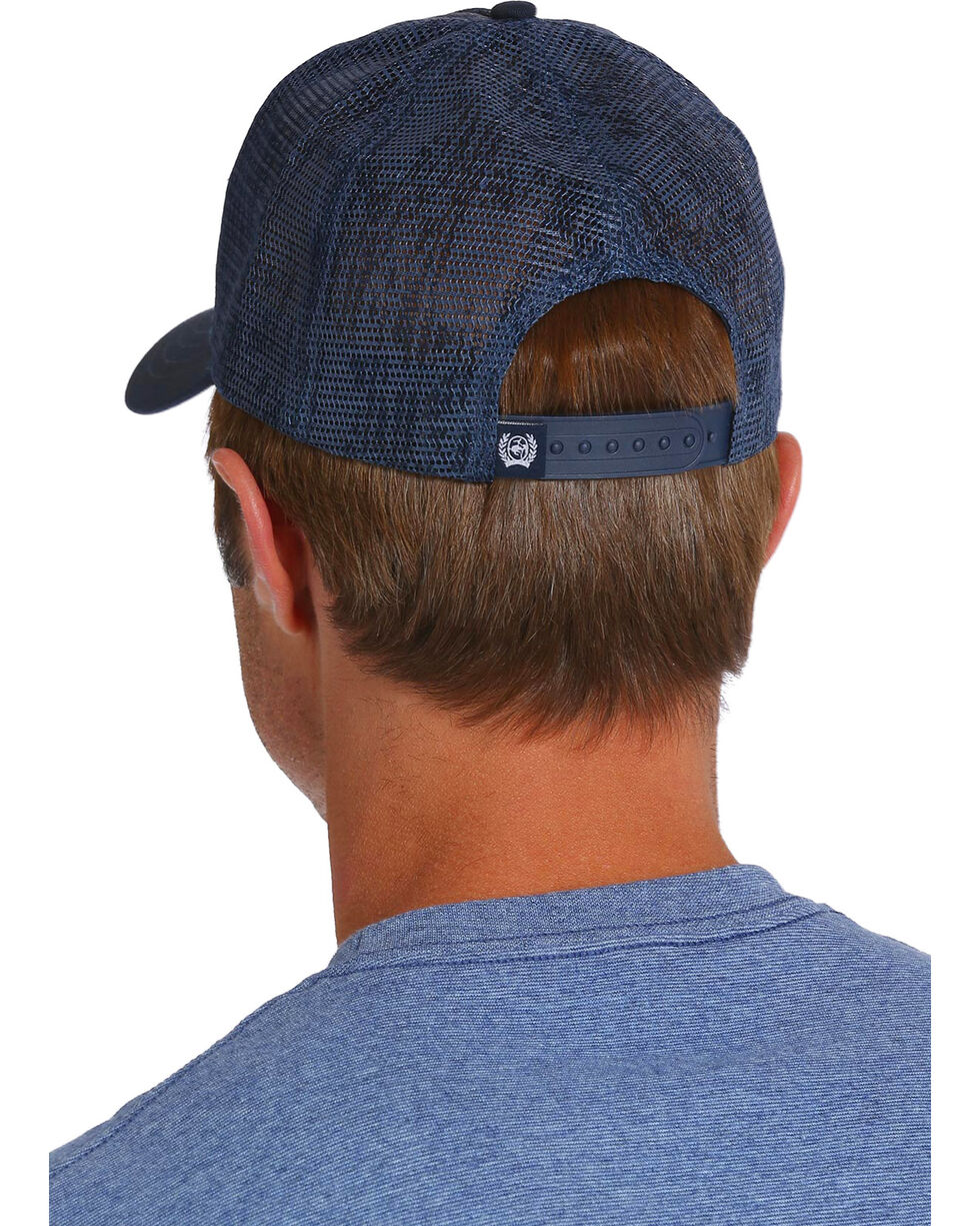Cinch Men's Mesh Print Logo Trucker Cap, Navy, hi-res