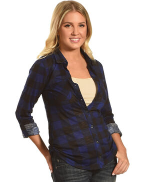 Derek Heart Women's Two Pocket Plaid Button Down Shirt, Blue, hi-res