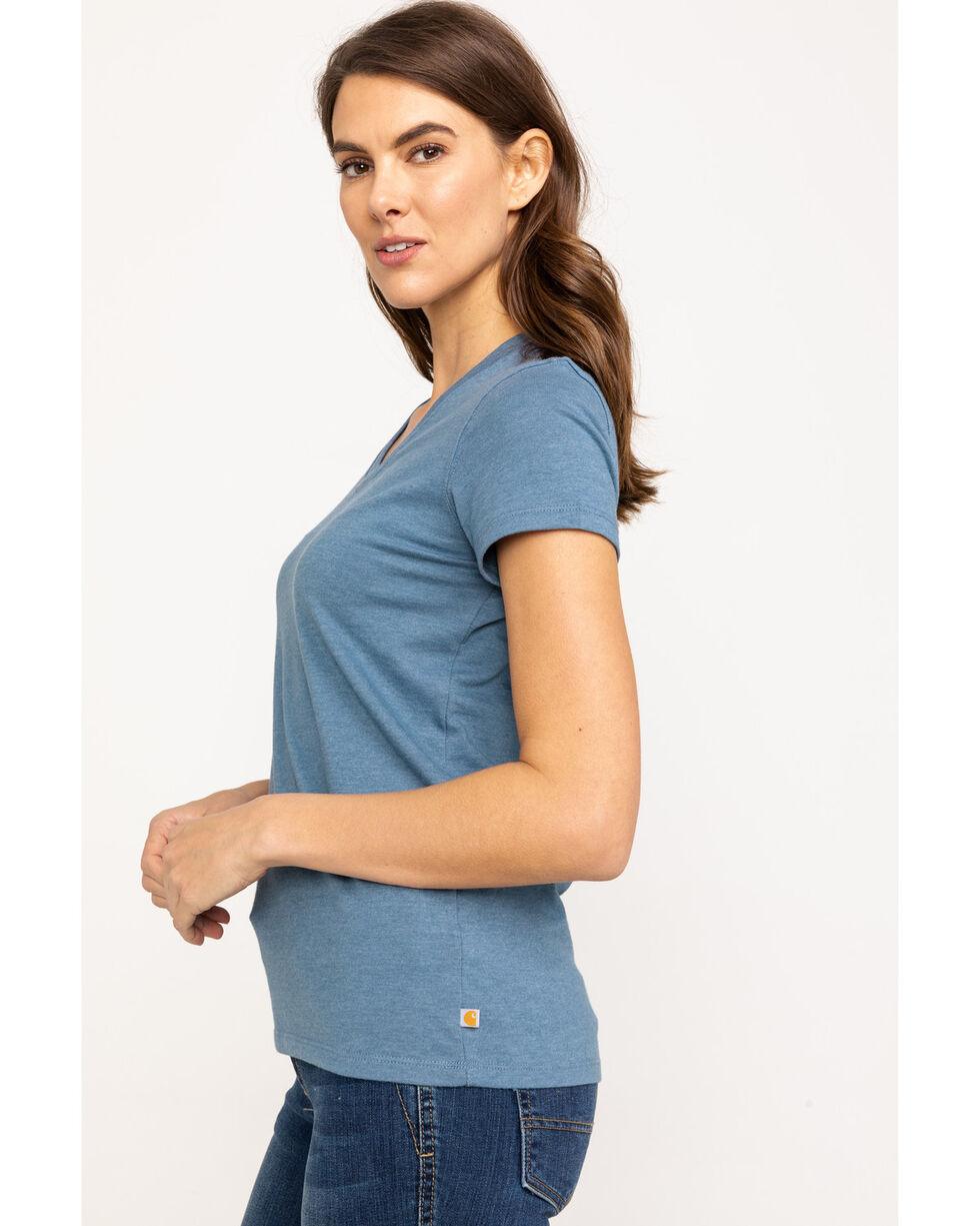 Carhartt Women's Heather Blue Lockhart V-Neck Short Sleeve T-Shirt, Heather Blue, hi-res