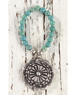 Shyanne Women's Turquoise Floral Concho Stretch Bracelet, Silver, hi-res