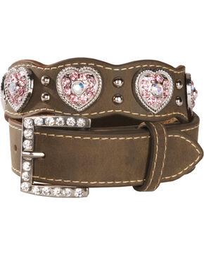 Nocona Belt Co. Kid's Rhinestone Heart Concho Belt, Brown, hi-res