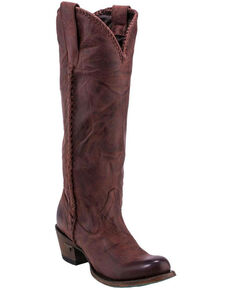 Lane Plain Jane Wine Cowgirl Boots - Round Toe , Dark Brown, hi-res