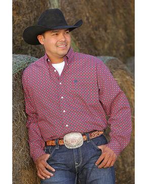 Cinch Men's Red Plain Weave Print Long Sleeve Button Down Shirt, Red, hi-res