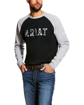 Ariat Men's FR Baseball Logo Crew Work Tee - Tall , Grey, hi-res