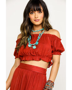 Angie Women's Solid Peasant Crop Top, Rust Copper, hi-res