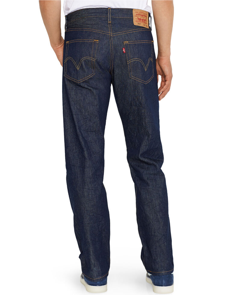 Levi's Men's 501 Indigo Original Shrink-to-Fit Regular Straight Leg Jeans, Indigo, hi-res