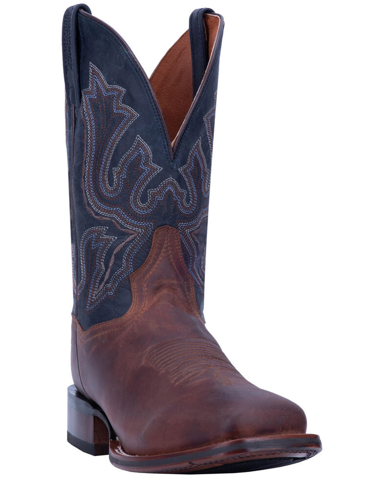 Dan Post Men's Winslow Western Boots - Wide Square Toe, Brown/blue, hi-res