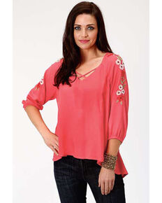 Studio West Women's Coral Embroidered Hi-Low Peasant Top, Coral, hi-res