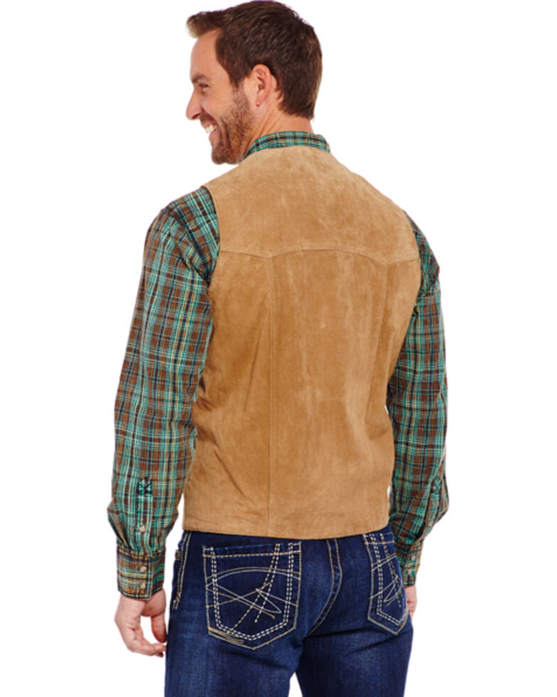 Cripple Creek Men's Suede Leather Vest, Tan, hi-res