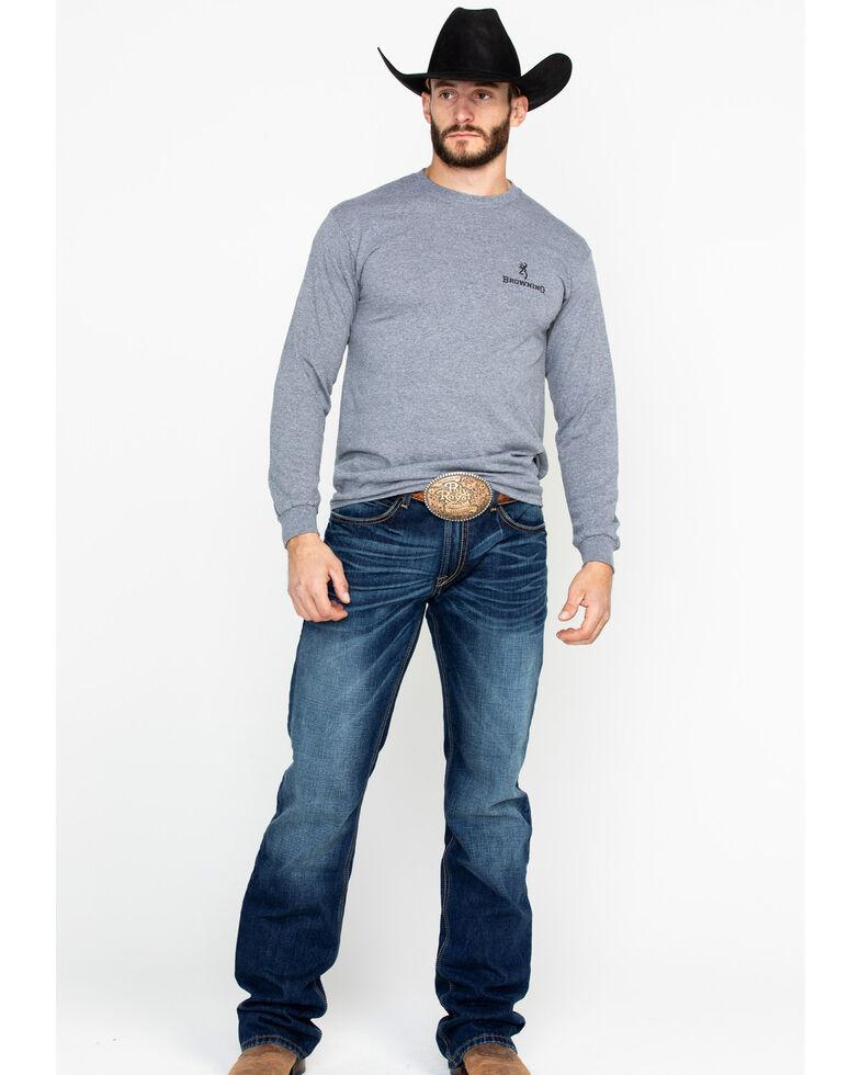 Browning Men's Longhorn Print Long Sleeve Shirt , Grey, hi-res