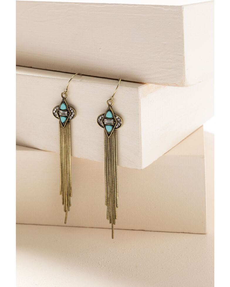 Shyanne Women's Gilded Gold Diamond Tassel Earrings, Gold, hi-res