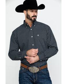 Ariat Men's Wrinkle Free Cleverly Geo Print Long Sleeve Western Shirt - Big , Black, hi-res