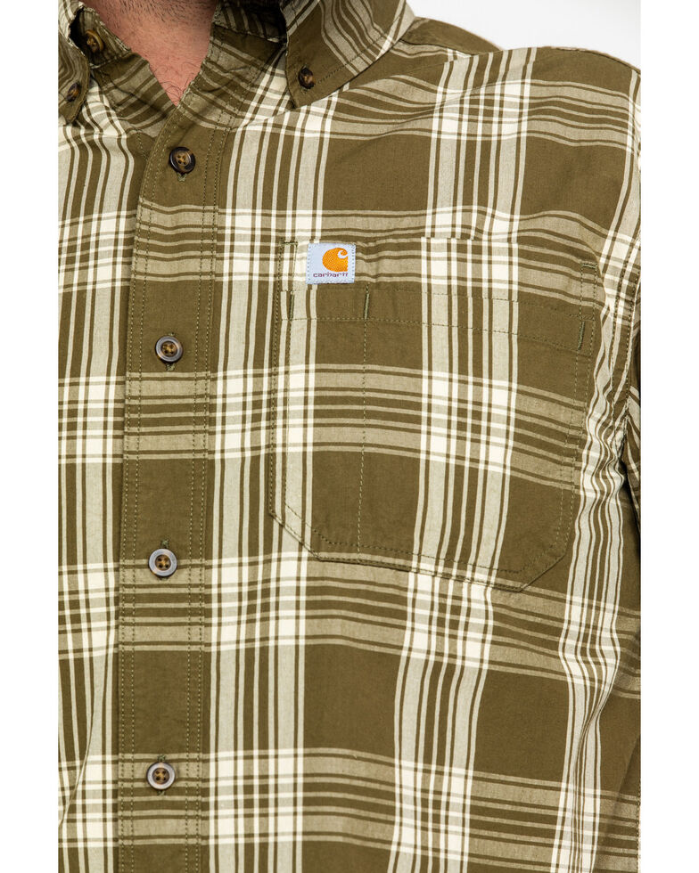 Carhartt Men's Olive Essential Plaid Button Long Sleeve Work Shirt , Olive, hi-res