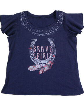 Shyanne® Girls'  Brave Spirit Short Sleeve Shirt, Navy, hi-res