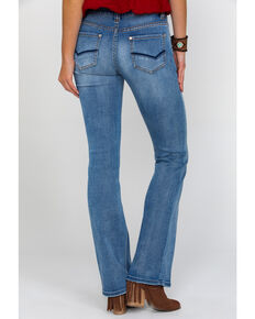 Rock & Roll Cowgirl Women's Signature Pocket Mid Rise Boot Jeans , Blue, hi-res