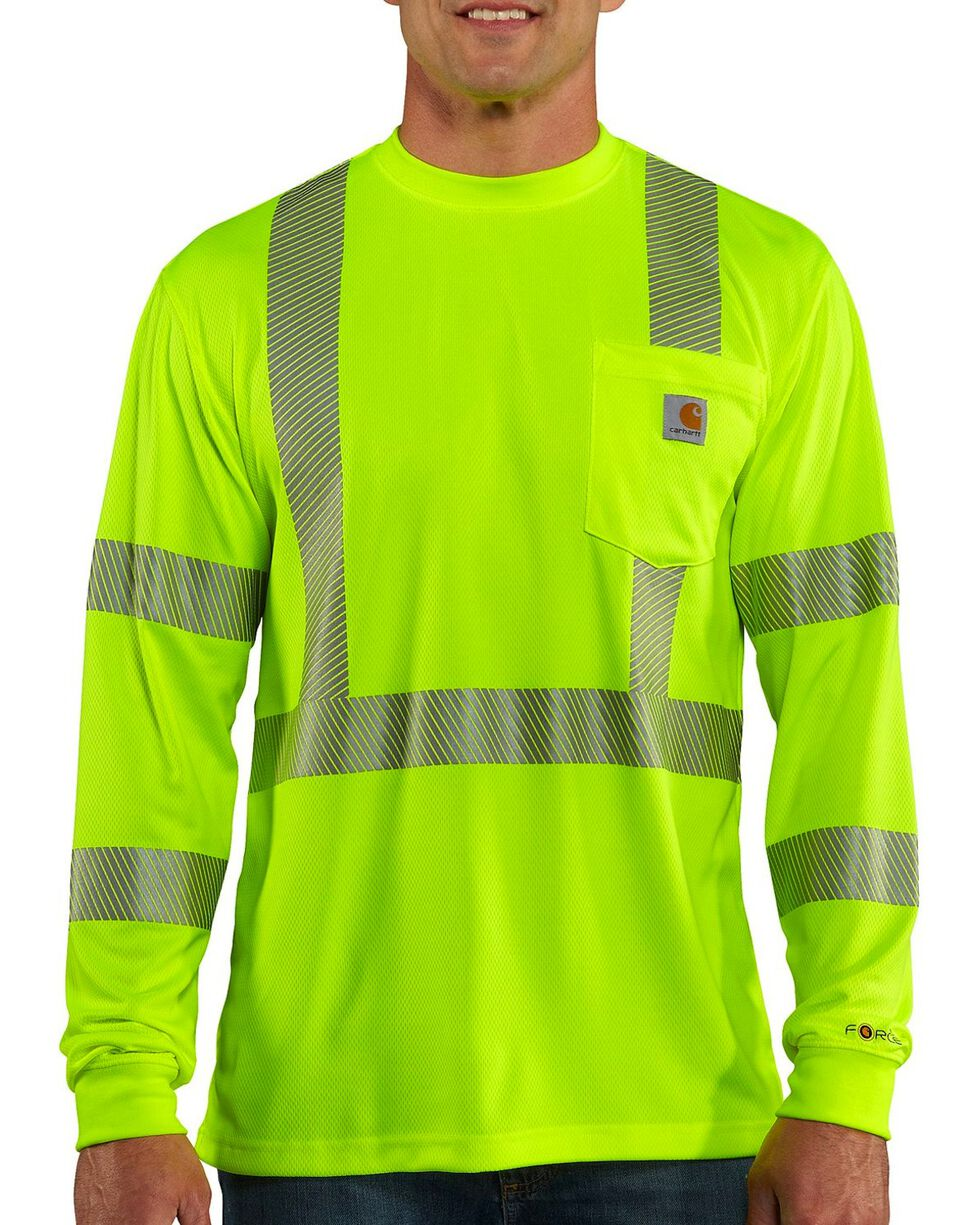 Carhartt Men's Long Sleeve Force High Visibility Class 2 T-Shirt, Lime, hi-res