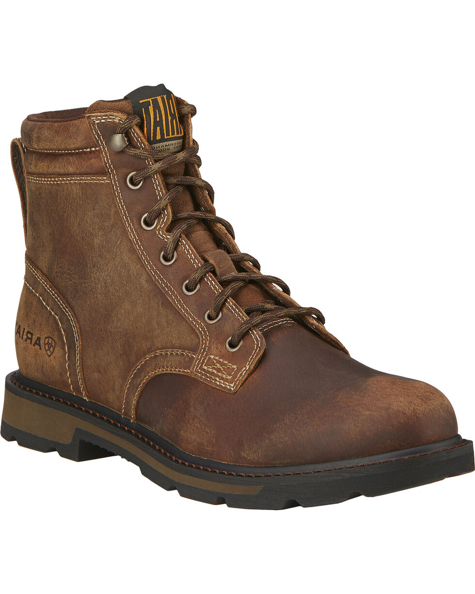 "Ariat Men's 6"" Groundbreaker Lace-Up Work Boots, Brown, hi-res"