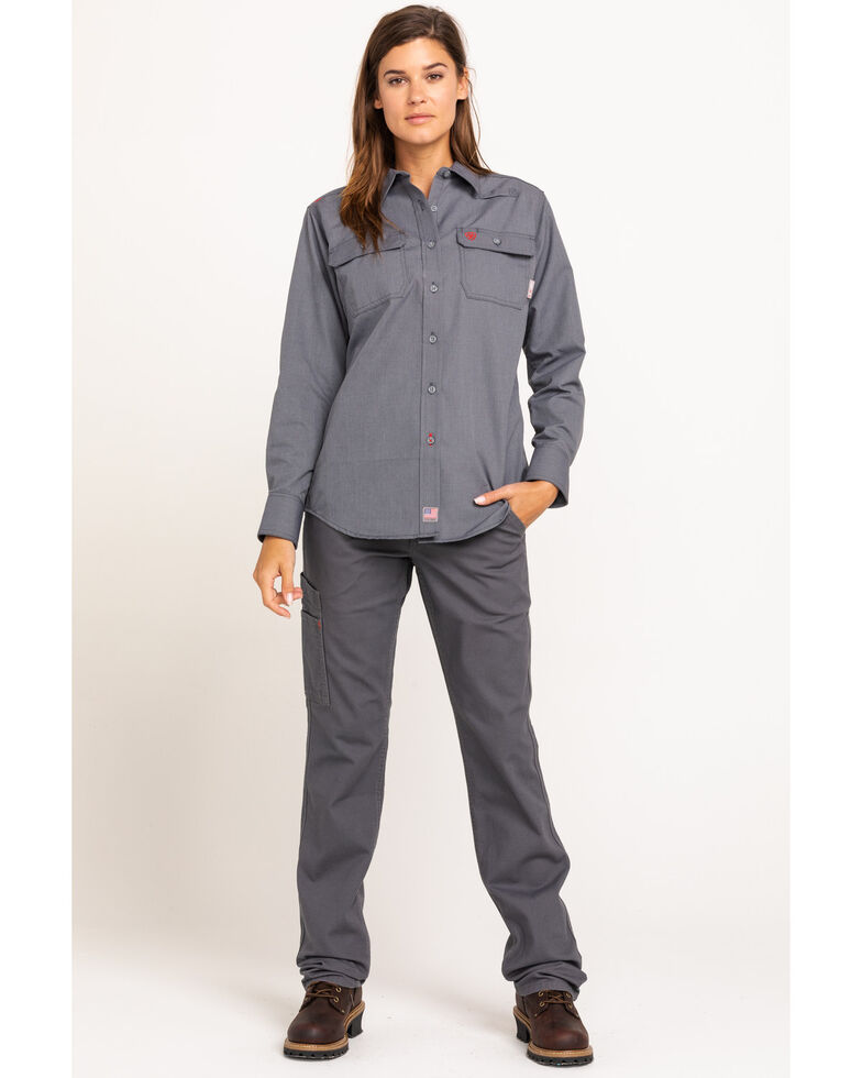 Ariat Women's Gunmetal Featherlight Long Sleeve FR Work Shirt, Grey, hi-res