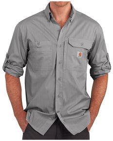 Carhartt Men's Charcoal Grey Force Ridgefield Solid Long Sleeve Shirt - Big & Tall, Charcoal Grey, hi-res