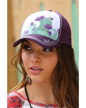 Cruel Girl Women's Watercolor Cactus Trucker Cap, Purple, hi-res