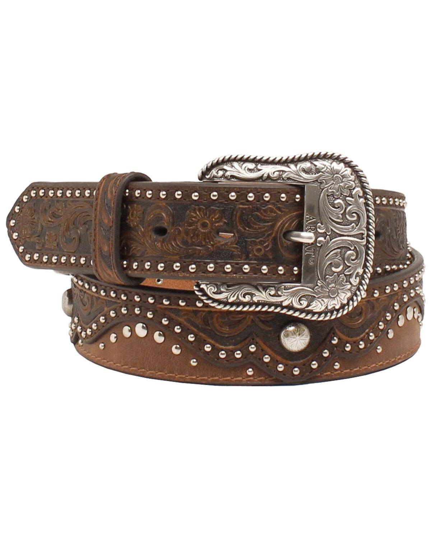 Wrangler Geniune Leather Zigzag Embossed Leather Belt in Brown
