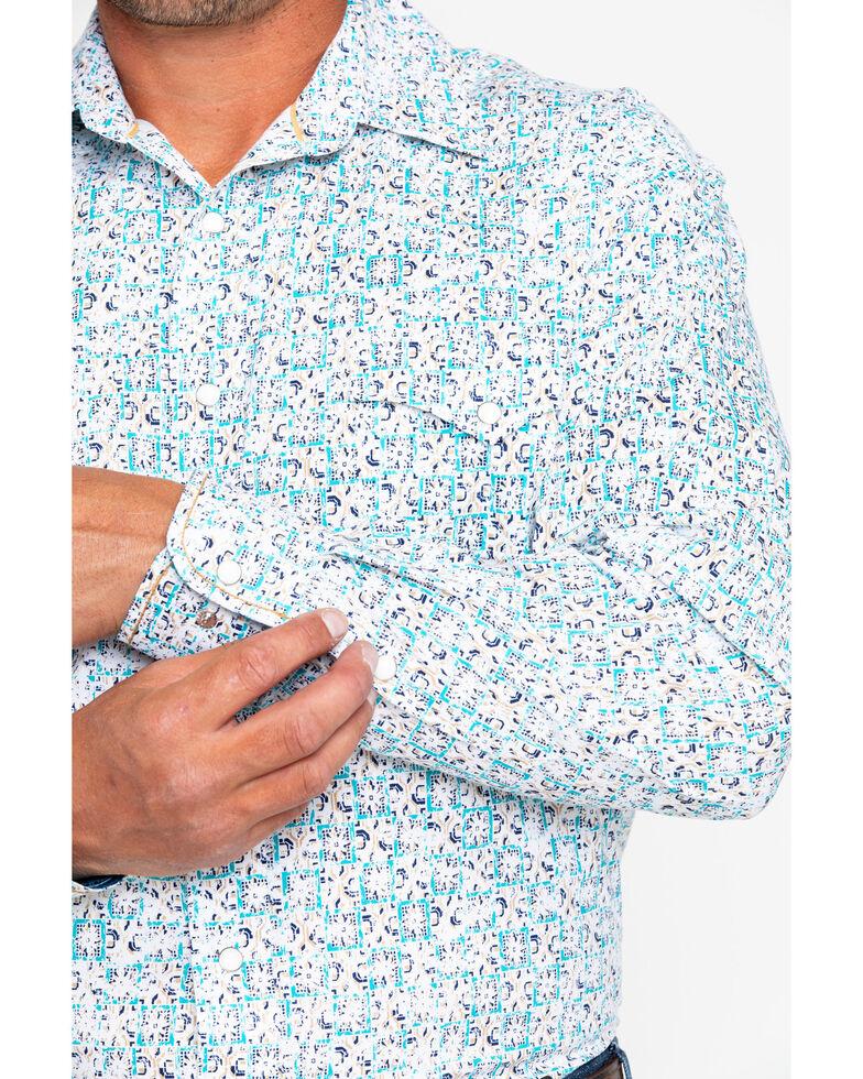Panhandle Men's Rough Stock Vermezo Antique Print Long Sleeve Western Shirt , White, hi-res