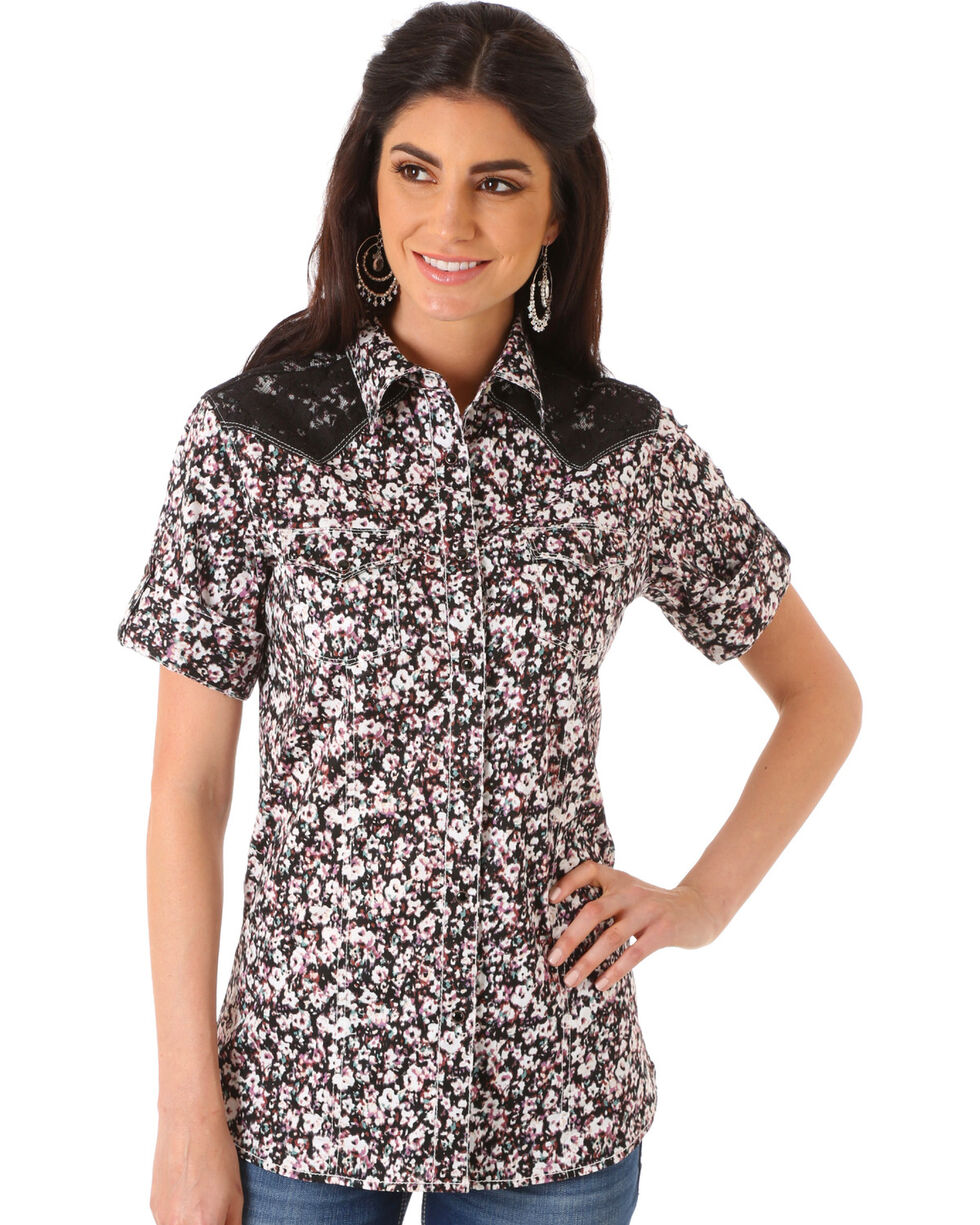 Wrangler Women's Multi Lace Yoke Short Sleeve Shirt , Multi, hi-res