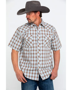 Resistol Men's Big Bend Small Plaid Short Sleeve Western Shirt , Brown, hi-res