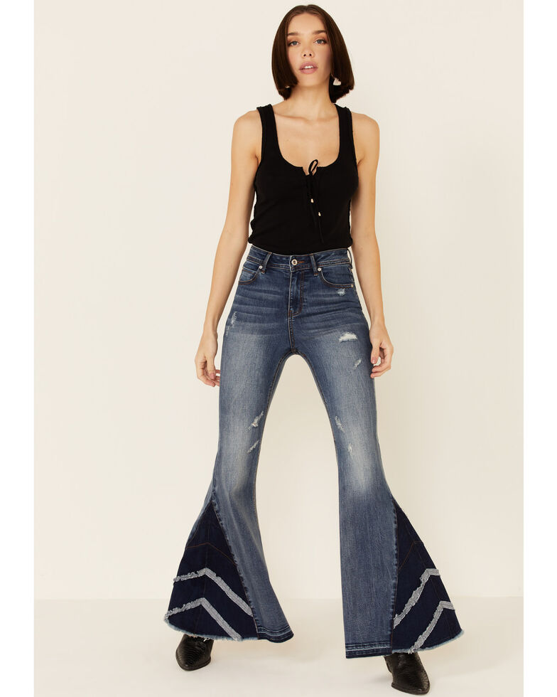 Grace in LA Women's 3-Layer Insert Flare Leg Jeans, Blue, hi-res