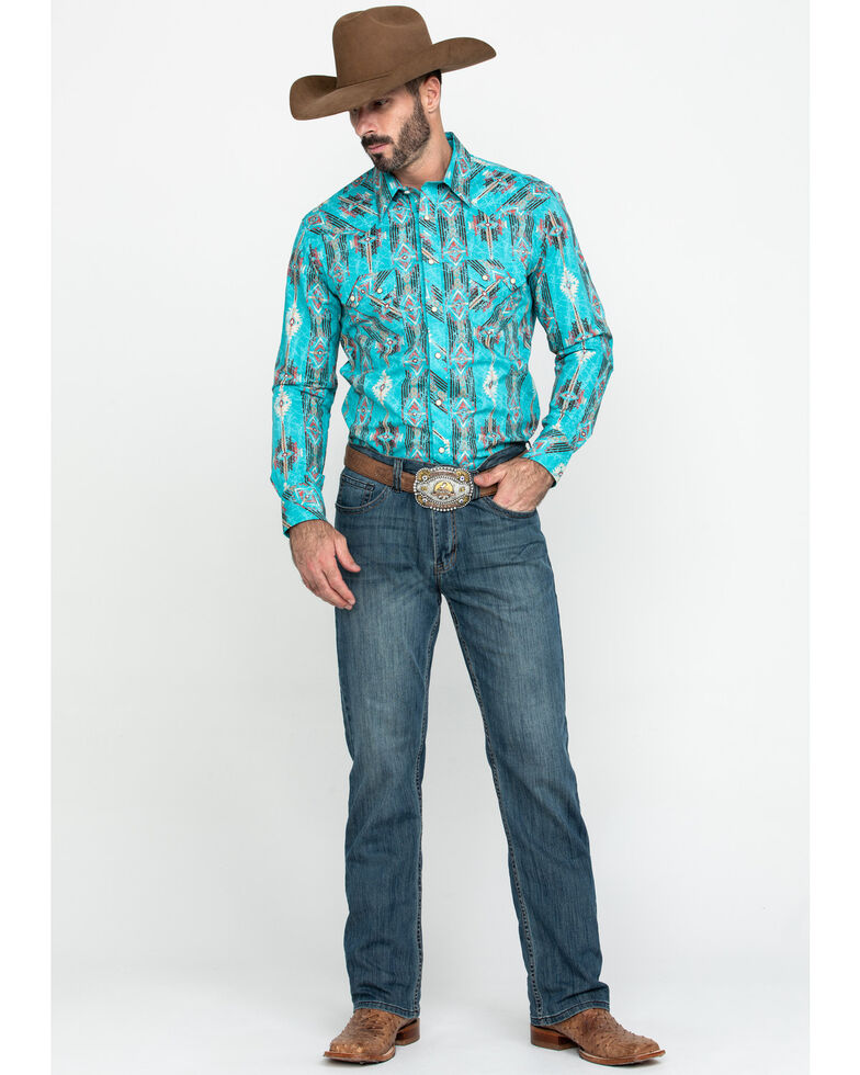 Rock & Roll Cowboy Men's Distressed Aztec Print Long Sleeve Western Shirt , Turquoise, hi-res