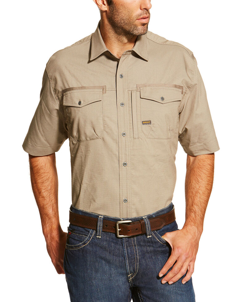 Ariat Men's Khaki Rebar Short Sleeve Work Shirt - Big , Beige/khaki, hi-res